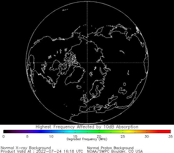 Current D-RAP estimates for the northern hemisphere